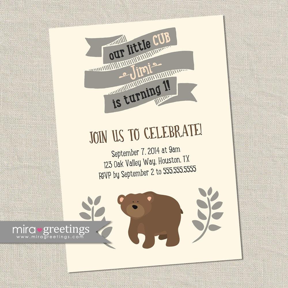 Bear Birthday Party Invitations - Printable Digital File