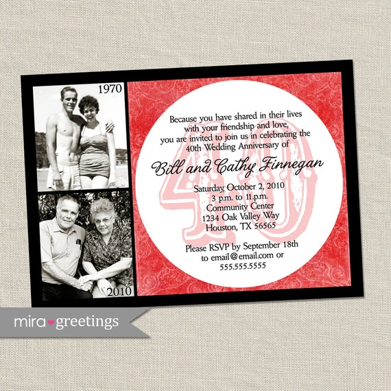 40th anniversary invitation ruby red wedding anniversary etsy