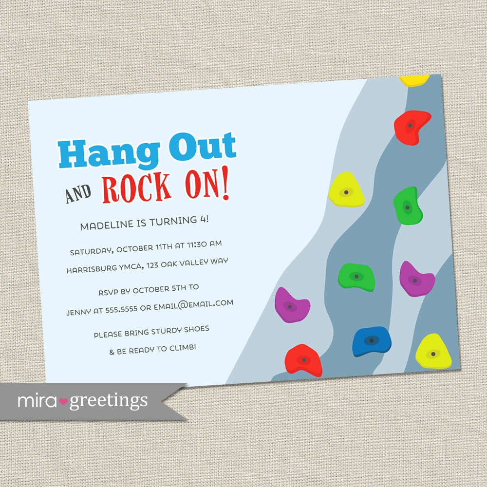 Rock Wall Climbing Birthday Party Invitations - Wall Climb Birthday ...