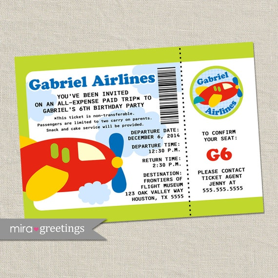 Items Similar To Airplane Birthday Invitation: Items Similar To Airplane Birthday Party Invitation