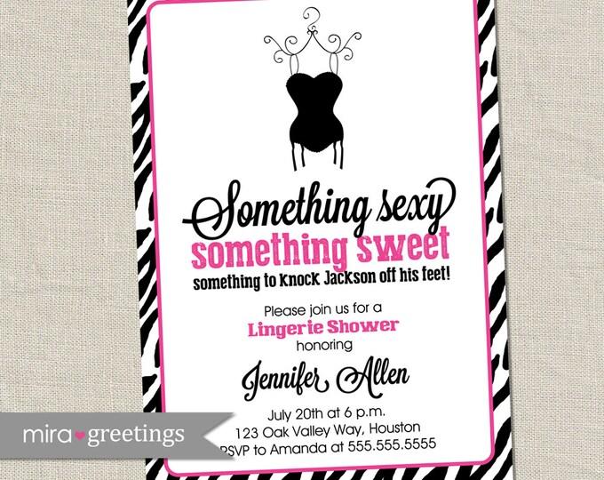 Zebra Pink Lingerie Shower Invitation - Printable Digital File