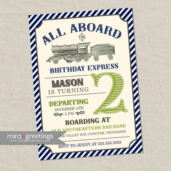 Vintage Train Birthday Party Invitation All Aboard