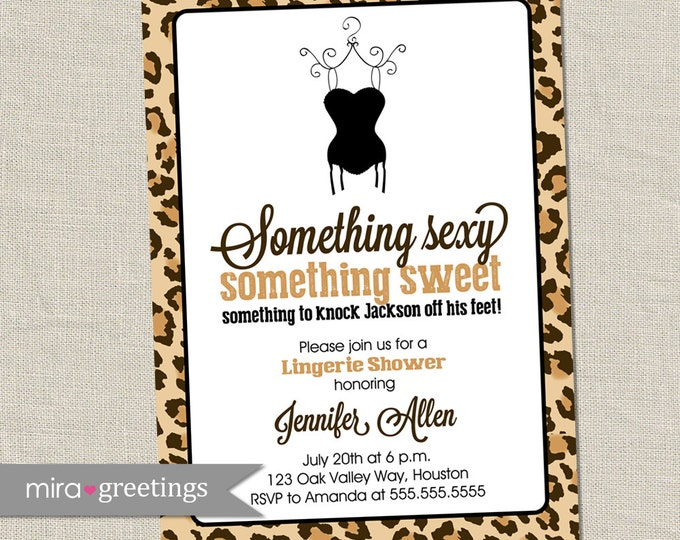 Leopard Lingerie Shower Invitation - Printable Digital File