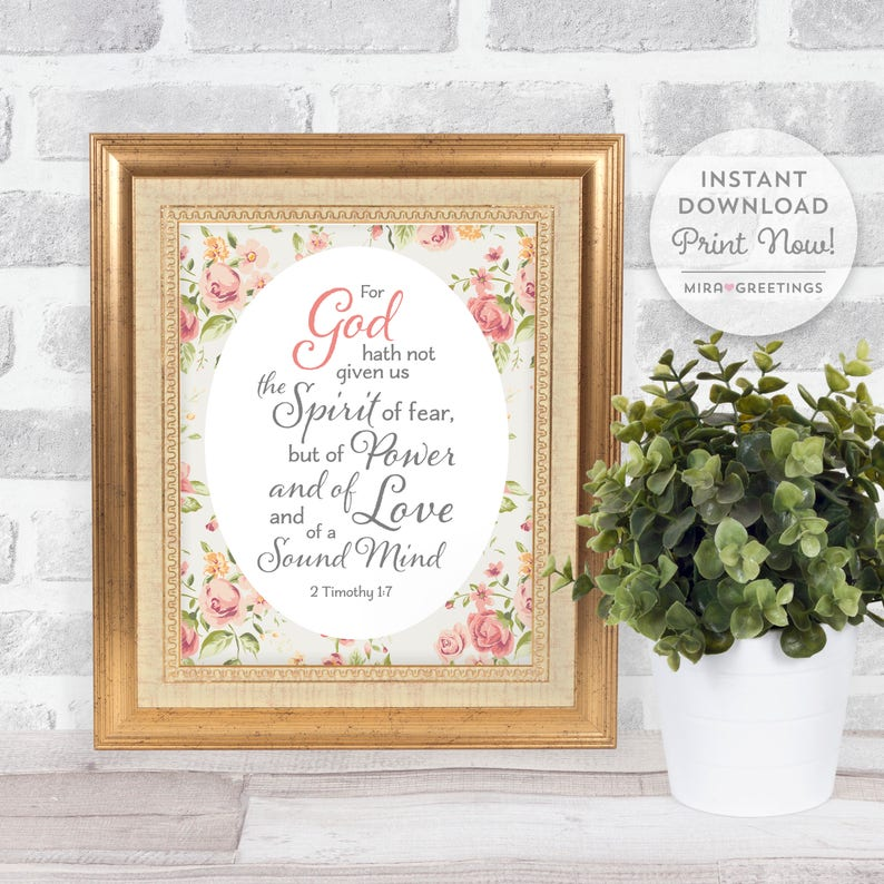 Bible verse digital download - 2 Timothy 1:7 quote - for God hath not given  us - Bible quote art - digital printable file - instant download
