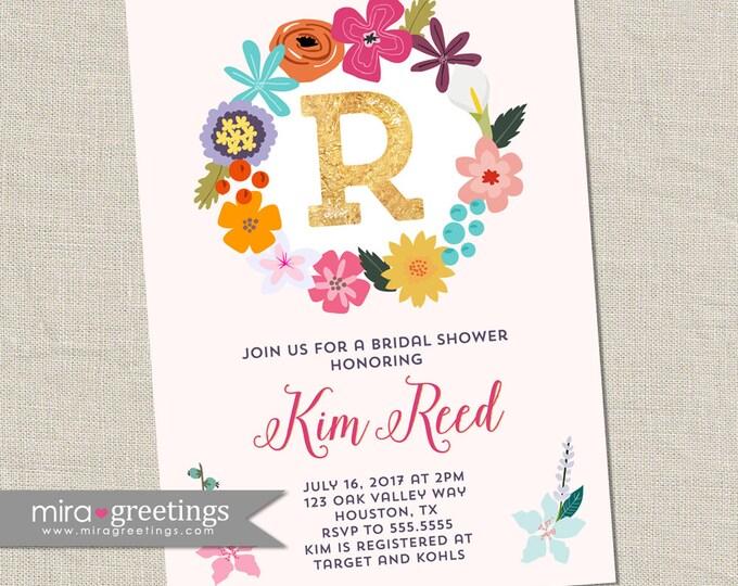 Flower Bridal Shower Invitation - Printable Digital File