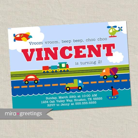 Automobile Birthday Invitations 1.00 each with envelope Dump Truck Custom Printed Plane Train