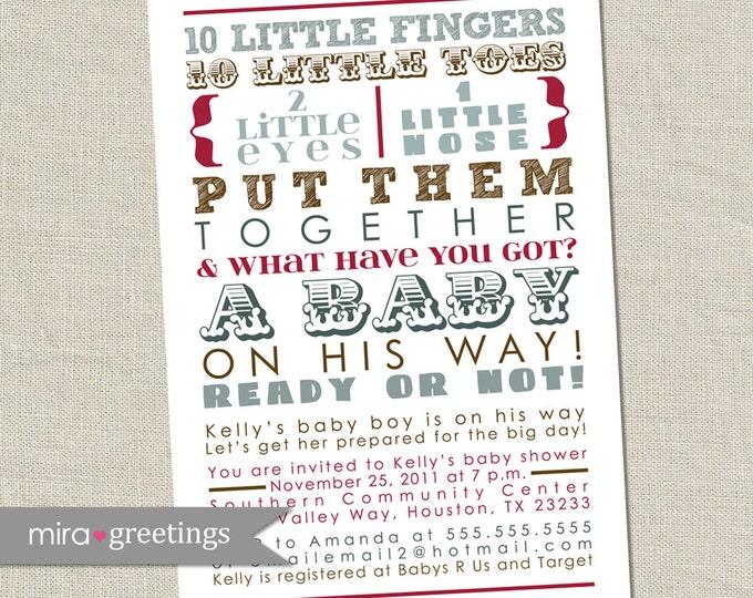 10 Little Fingers Boy Baby Shower Invitation - Printable Digital File