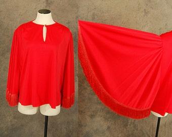 5590f38fa6f vintage 70s Batwing Blouse - Red Fringe Angel Sleeve Caftan Shirt Sz M L XL