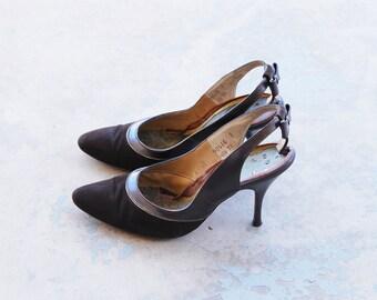49f5176bc921ca Vintage 50er Jahre High Heels - braunem Leder und Wildleder Slingback Heels  Schleife Sling Back Stilettos der 1950er Jahre Schuhe Sz 6 37