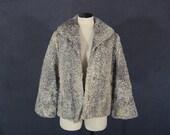 vintage 50s Persian Lamb Coat 1950s Silver Gray Curly Lamb Fur Coat Teddy Bear Coat Sz M