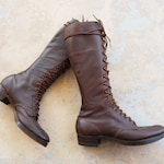 vintage 30s Leather Boots - 1930s Leather Work Boots Tall Lace up Boots Jump Boots Sz 9.5 W 7.5 M 40