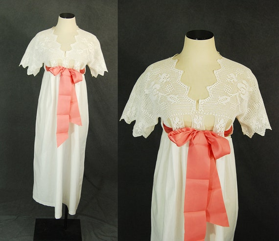 antique Victorian Nightgown - White Cotton Dress N