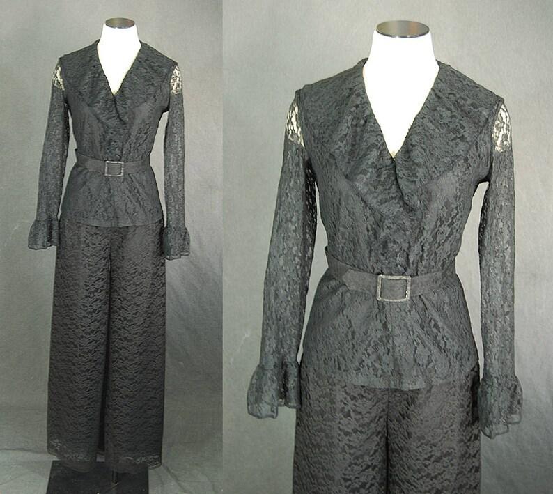 vintage 60s Lace Jumpsuit  1960s Lace Suit Set Ruffle Top and image 0