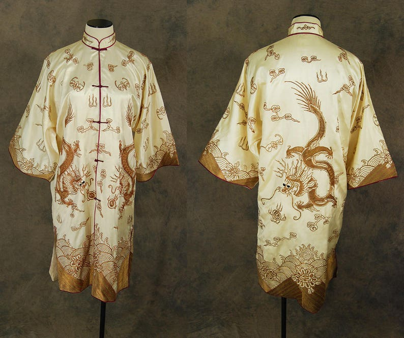 991e195d73 Vintage 30s Dragon Robe antique 1930s Chinese Silk Robe Gold