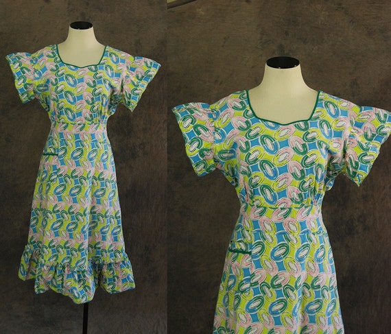 vintage 30s Day Dress - 1930s Art Deco Print Cotto