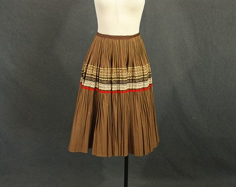 vintage 50s Circle Skirt - Brown and Gold Patio Skirt 1950s Country Western Skirt Sz L