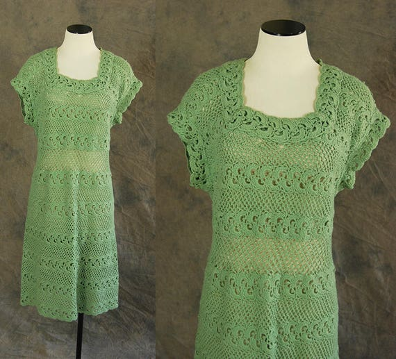 vintage 40s 50s Crochet Dress - 1940s 1950s Green