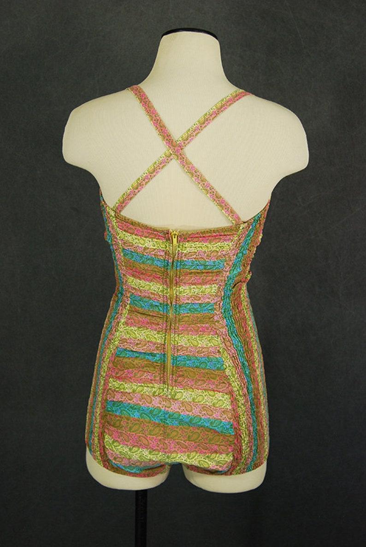 1950s Paisley One Piece Swimsuit Bathing Suit Sz M vintage 50s Catalina Swimsuit