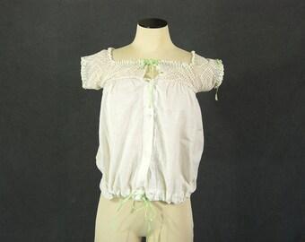 vintage Victorian Edwardian Camisole - White Cotton Crochet Crop Top - 1900 1910s Corset Cover Sz XS