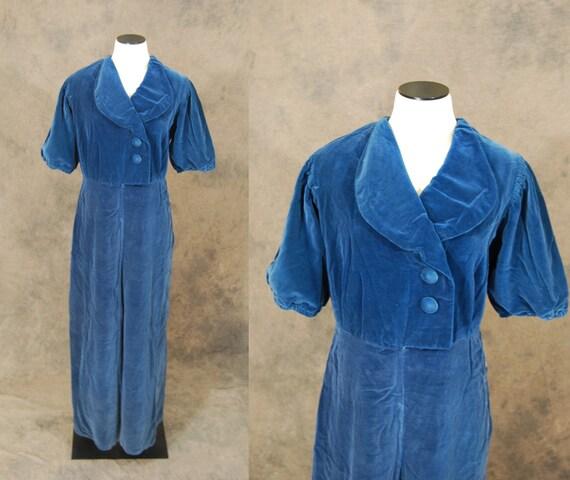 vintage 40s Jumpsuit - 1940s Lounge Pantsuit - Blu
