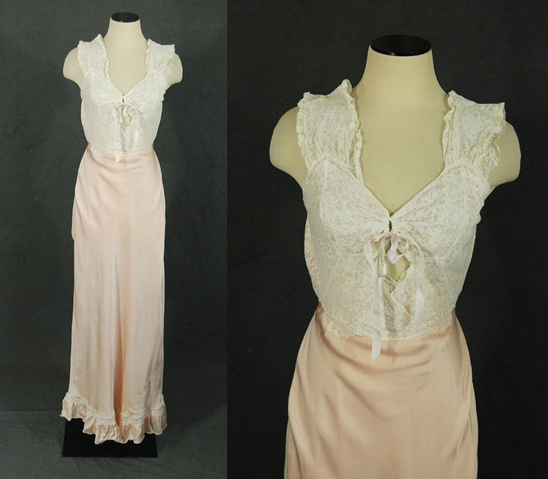 vintage 30s Satin Nightgown  Pink Satin and Lace Bias Cut image 0