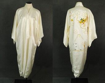 vintage 40s Dragon Kimono Robe - 1940s White Satin Gold Bullion Embroidered Kimono Asian Duster Dressing Gown Sz S M L