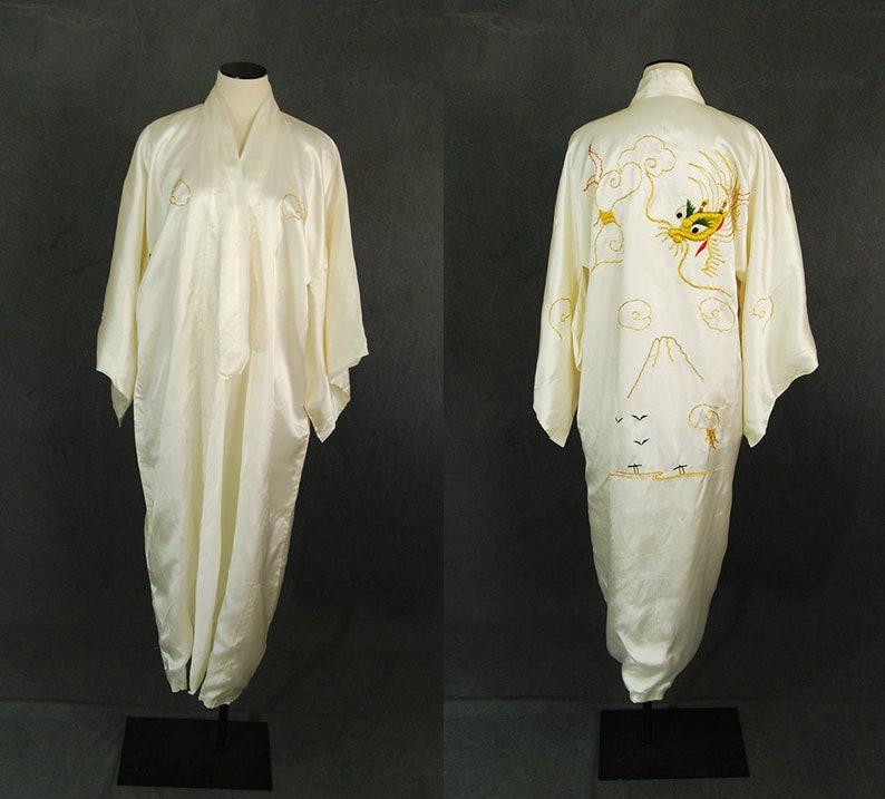 8393427ef1 Vintage 40s Dragon Kimono Robe 1940s White Satin Gold