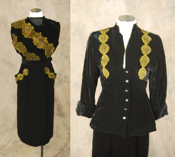 vintage 40s Silk Velvet Suit - 1940s Novelty Persi