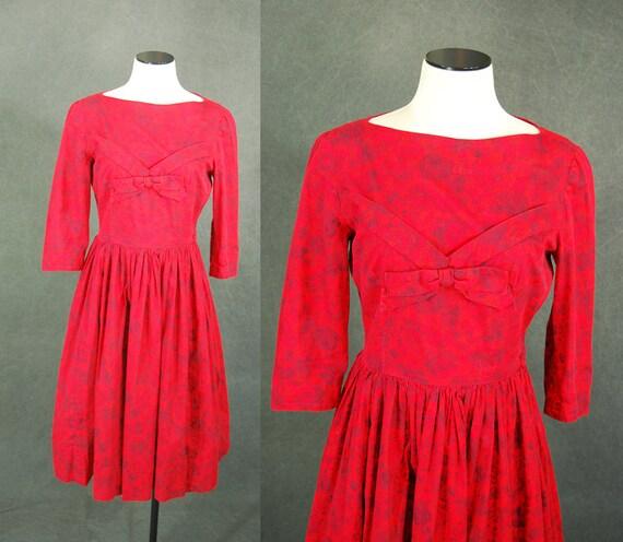 vintage 50s Red Dress - 1950s Red Rose Floral Dres