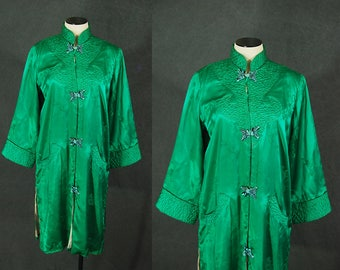 vintage 50s Chinese Robe - 1950s Green Silk Brocade Dressing Gown - Asian Duster Jacket Sz S M L