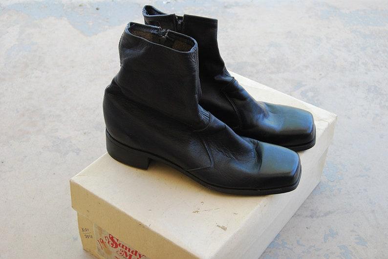 vintage 60s Chelsea Ankle Boots  Black Leather Beatle Boots  image 0