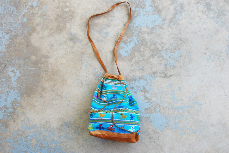 vintage 80s Tapestry Purse  1980s Small Blue Guatemalan image 0