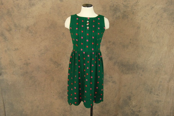 vintage 60s Babydoll Dress - Green and Pink Embroi