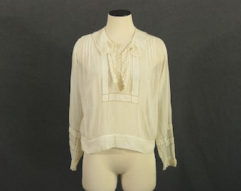 vintage Edwardian Blouse - Sheer Cotton Voile Shirt - 1910s Blouse Sz S M