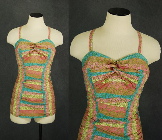 vintage 50s Catalina Swimsuit - 1950s Paisley One