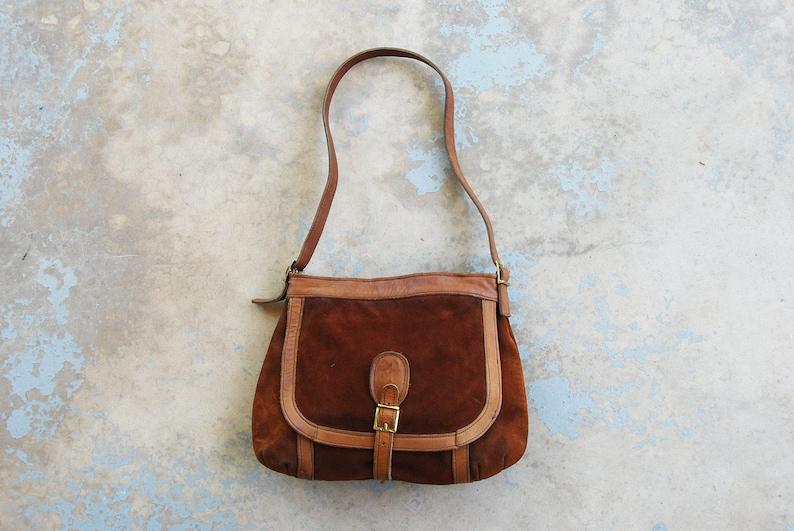 vintage 70s Suede Shoulder Bag 1970s Rust Brown Leather Purse image 0