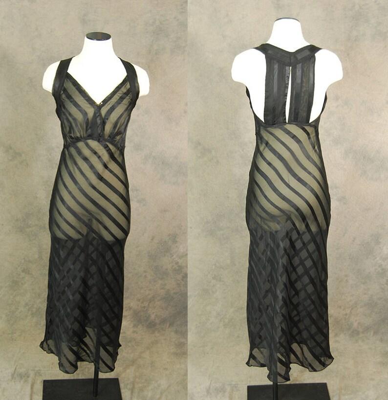 6c2659ad17d Vintage 30s Nightgown Black Striped Mesh Night Gown Bias