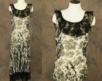 vintage 30s Evening Gown - 1930s Dress Floral Silk Chiffon Dress 1930s Chantilly Lace Maxi Dress Sz M