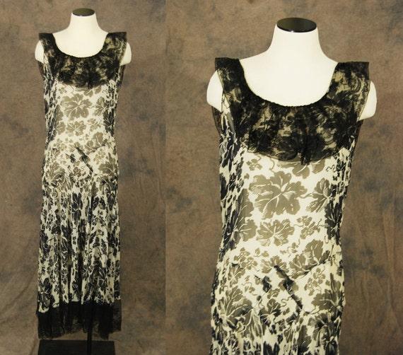 vintage 30s Evening Gown - 1930s Dress Floral Silk