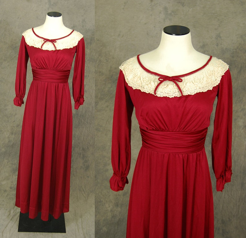 vintage 70s Maxi Dress  1970s Maroon Red Sheer Lace Collar image 0