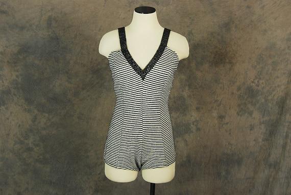 vintage 50s Swimsuit - Metallic Striped Knit Swims