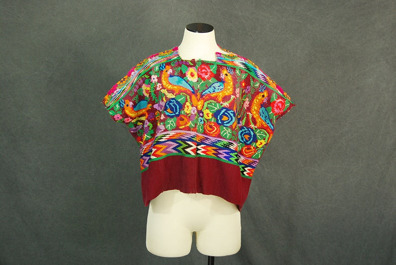 vintage 70s Huipil  1970s Parrot Bird Embroidered Peasant image 0