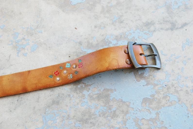 vintage Tooled Leather Belt   Light Brown Hippie Floral image 0