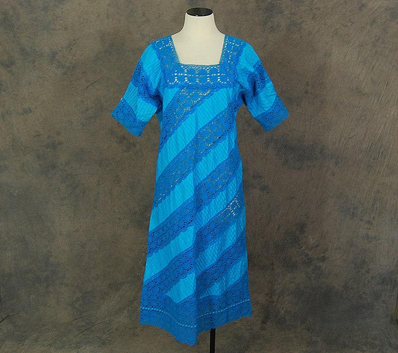 Mexican Wedding Dress Sz M SALE vintage 70s Mexican Crochet Lace Dress 1970s Blue Cotton Pintucks and Lace Dress