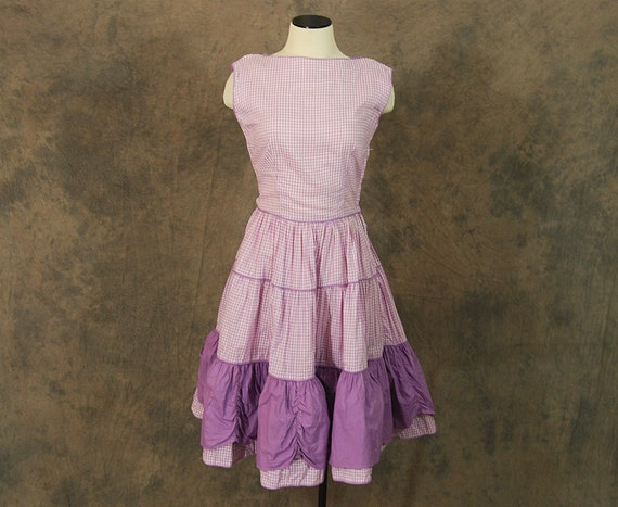 vintage 50s Dress - 1950s Purple Gingham Day Dress