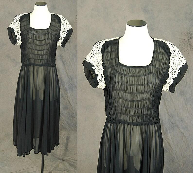 vintage 40s Sheer Dress 1940s Smocked Chiffon Dress Paul Sachs Black Ruched Cocktail Dress Sz M