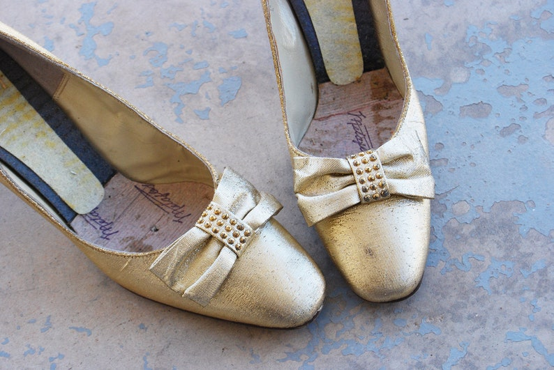 vintage 60s Gold Shoes  Mod Metallic Gold Lame Bow Heels image 0