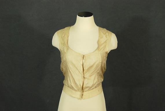 antique Victorian Camisole - Beige Pongee Silk Cor