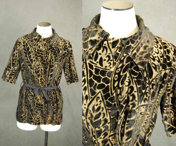 vintage 30s Burnout Velvet and Gold Lame Blouse -