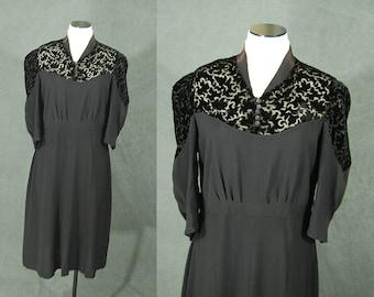 vintage 30s 40s Dress - Burnout Velvet and Rayon Dress Sz M L